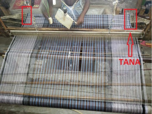 A Weaver  makeing a handloom Lungi